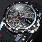 Победитель скелет из нержавеющей стали серебряные чехол мужчины аналоговый автоматическая механические черный резиновый силиконовый ремешок управлением мужчины спортивные часы