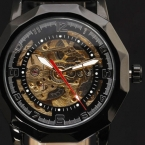 2015 новый люксовый бренд скелет нерегулярные специально разработанный нержавеющей стали чехол ман кожаный автоподзаводом мужские механические часы