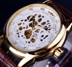 Победитель скелет автоматические механические часы полноценного кожаный ремешок золотые часы мужские часы лучший бренд класса люкс Erkek специальную мужской часы