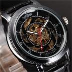 Победитель черный кожаный мода скелет черный дизайнерские часы роскошные часы мужские часы лучший бренд класса люкс автоматические механические часы