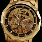 Победитель Королевский Carving Dodecagon Дизайн Золотые Часы Мужчины Из Нержавеющей Стали Черный Скелет Мужские Часы Класса Люкс Лучший Бренд Автоматические Часы
