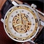 Победитель новый скелет ретро дизайн золотые часы мужчин лучший бренд роскошных дизайнерские часы роскошные часы из натуральной кожи механические часы
