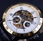Orkina Королевский Hollow Скелет Белый Золотой Ободок Мужские Часы Лучший Бренд Класса Люкс Автоматические Часы Натуральная Кожа Старинные Часы