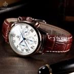 Классический ORKINA 6 руки мужские часы люксовый бренд золотой чехол коричневый кожаный хронограф мужчины наручные часы Horloge кварцевые часы