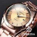 Роскошные розы золото чехол из нержавеющей стали часы-брошь мужской часы мужчины Atmos часы Relogio Masculino бизнес кварцевые часы