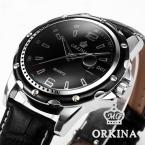 Мужской часы отображения даты черный кожаный кварцевые часы мужчины открытый спортивные часы мода свободного покроя часы кожаный ремешок мужчины наручные часы