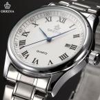 Классический стиль винтаж ORKINA шедевр Montre роковой отображения даты часы из нержавеющей стали мужские кварцевые наручные часы мужчин свободного покроя часы