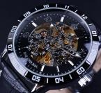 Orkina Королевский Hollow Скелет Черный Ободок Кожаный Ремешок Часы Мужчины Люксовый Бренд Автоматические Часы Часы Relogio Masculino