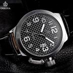 Мода ORKINA Montre черный кожаный ремешок круглый нержавеющей стали чехол отображения даты календарь кварца людей спорт туризм военные часы