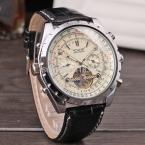 Jargar автоматические мужчины мода турбийон серебристого металла часы с черный кожаный ремешок бесплатная доставка JAG212M3S6