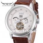 Jargar автоматическая серебристый цвет мужчины наручные часы с турбийоном коричневый кожаный ремешок бесплатная доставка JAG16557M3S2