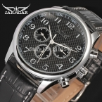 Jargar автоматические мода платье часы серебряный цвет с черный кожаный ремешок бесплатная доставка JAG6458M3S2