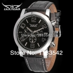 Классический деловой черный циферблат 24 ч. кожаный Relogio Masculino автоматические мужчины платье наручные часы Jargar / JAG6165M3S1