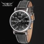 Jargar JAG6348M3S5 новые люди автоматические мода платье наручные часы серебряный цвет черный кожаный ремешок бесплатная доставка