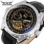 Jargar новые автоматические мужчины часы с черным кожаным группы бесплатная доставка JAG212M3S7