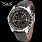 Jargar JAG6905M3S1 новые люди автоматические мода платье часы серебристый цвет наручные часы с черный кожаный ремешок бесплатная доставка