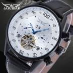 Известный бренд Jargar новая автоматическая черный цвет мужчины наручные часы с турбийоном черный кожаный ремешок JAG16556M3B1