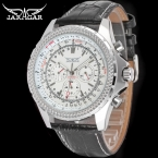 Jargar JAG6070M3S2 новые люди автоматические мода серебряные часы наручные часы для мужчин с черным кожаным ремешком лучший подарок бесплатная доставка