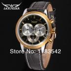Jargar мужчины автоматические наручные часы серебряный цвет с черным кожаным ремешком горячая распродажа бесплатная доставка JAG6041M3T1