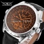 Jargar автоматические мужчины мода турбийон серебристого металла часы с черный кожаный ремешок бесплатная доставка JAG212M3S3