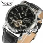 Jargar новая автоматическая мужчины мода с турбийоном серебристый цвет черный кожаный ремешок часы бесплатная доставка JAG540M3S1