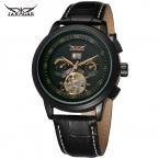Jargar мужские часы Новый стиль мода турбийон полный календарь натуральная кожа бренд Wristwatches цвет черный JAG16557M3