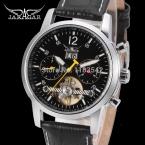 Jargar новая автоматическая мужчины мода турбийон серебряные часы с черный кожаный ремешок JAG154M3S2