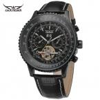 Jargar мужские часы Новый стиль горячий-продажа мода многофункциональный автоматический кожаный ремешок наручных часов цвет черный JAG034M3B1