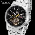 Jargar новая автоматическая мужчины мода турбийон серебряные часы из нержавеющей стали группы доставка бесплатно JAG154M4S1