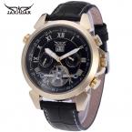 Jargar людей часы моде автоматический кожа классический турбийон календарь аналоговый наручные часы цвет черный JAG057M3