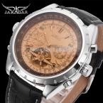 Jarga автоматические мужчины мода турбийон серебристого металла часы с черный кожаный ремешок бесплатная доставка JAG212M3S4