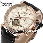 Высокое качество Jargar новая автоматическая мужчины турбийон платье часы с черным кожаным ремешком доставке freeJAG540M3R3