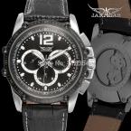 Jargar JAG6581M3T1 новые люди автоматические мода часы черный наручные часы для мужчин с черным кожаным ремешком лучший подарок бесплатная доставка