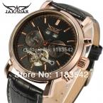 Высокое качество Jargar новая автоматическая мужчины турбийон платье часы с черным кожаным ремешком бесплатная shippingJAG540M3R1