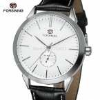 Fsg8083m3s3 Forsining часы новая автоматическая серебристый цвет круглые часы с черным leathe ремешком оригинальную коробку для бесплатная доставка