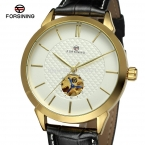 Классический Forsining делового дресс мужчины часы кожаный ремешок золотой цвет шатона Relogio водонепроницаемый мужские часы FSG8083M3G1