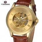 Forsining мужские часы классический скелет золотого цвета циферблат коричневый кожаный ремешок автоматическая наручные часы цвет золота FSG8034M3G8