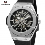 Forsining мужские часы высокого класса автоматический механизм уникальный скелет резинкой военные наручные часы цвет черный FSG8107M3S1-2