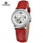 Forsining женские часы скелет аналоговый прозрачный кристалл кожа StrapFashion свободного покроя фирм цвет белый FSL8014M3