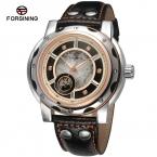 Forsining мужские часы автоматические моде скелет аналоговый роскошные камни фирм из натуральной кожи черного цвета FSG8091M3