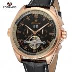 Forsining мужские часы высокие модные автоматический календарь кожаный ремешок новинка турбийон наручные часы цвет черный FSG9411M3