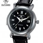 Автоматический self-ветер наручные часы с подлинной Leaather ремешок марка OUYAWEI 1119 мужская мода мужские автоматически проставленная часы Relogio мужчины