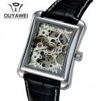 Бренд OUYAWEI 1222 бизнес мужчины часы старинные прямоугольник чехол элегантные мужские механические часы-скелетоны relogios masculino