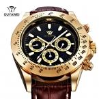 Ouyawei Brnd механические часы люксовый бренд WristWatches кожаный ремешок мужчины часы self-ветер часы-скелетоны для мужских наручных часов