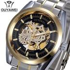 Ouyawei 1302 мода скелет набора кожаный ремешок полный Mechainical vigilanza dell'uomo часы мужские карманного Watcha Relogio Masculino