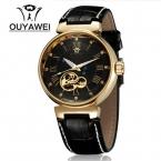 Ouyawei марка авто self-ветер аналоговые круглый наручные часы кожаный ремешок полный стали часы механические часы часы для мужчин