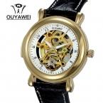 Бренд OUYAWEI 1118 мужские автоматические self-ветер наручные часы с подлинной Leaather ремень мода мужские часы Relogio Masculino