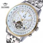 Бренд OUYAWEI мужской роскоши резка-10шт механические наручные часы из нержавеющей стали , бизнес мужские часы Relogio Masculino
