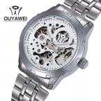 Бренд OUYAWEI 1402 мужские резка-10шт механические наручные часы из нержавеющей стали бизнес мужские часы Relogio Masculino
