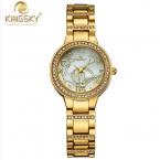 Новый Золотые Часы Женщины Люксовый Бренд Kingsky Bling Кристалл Кварцевые Наручные Часы Простой Женщины Девушка Горный Хрусталь женские Часы